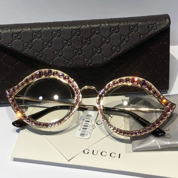 c6397dbef3 NWT Gucci Round Metal Crystal-Trim Sunglasses